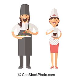 Beautiful young chef decorating delicious character vector....