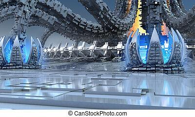 3D futuristic organic architecture - 3D Illustration of...