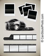 photo and video film pictures set - set of photo video film...