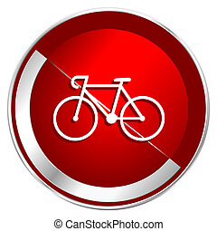 Bicycle red web icon. Metal shine silver chrome border round...