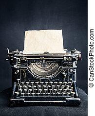 typewrite, vendemmia, carta, nero, foglio, inserito