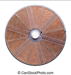 Induction heater copper elements closeup. Electromagnet...