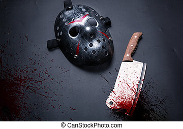Serial murderer tools isolated on black background. Bloody...