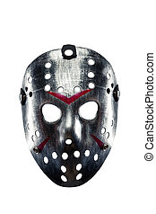Hockey mask of serial killer isolated on white - Horrible...