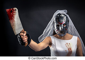 Bride maniac in hockey mask with bloody knife on black...