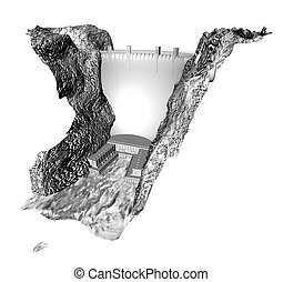 3d greyscale dam - Detailed 3d render of a dam in the style...