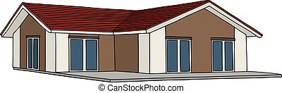 Low small house - Hand drawing of a low house