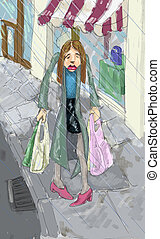 shopping in the rain illustration - A woman looking fedup...