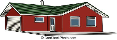 Red low house - Hand drawing of a red low house