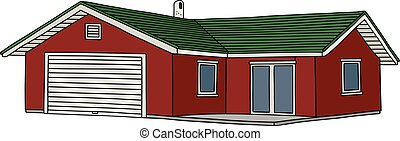 Red low house - Hand drawing of a red small house