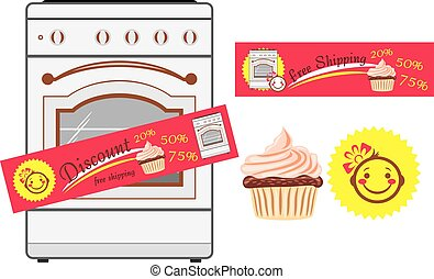 Kitchen stove and discount stickers. Vector illustration