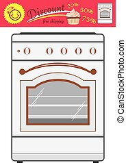 Kitchen stove and discount sticker. Vector illustration