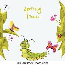 Cartoon smiling caterpillar among butterflies. Vector...