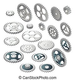 Isometric big set of a Gear wheels. Vector futuristic technology. Illustration hi-tech, engineering, digital telecoms concept. With space for content, web- template, business tech presentation