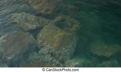 Big stones under water