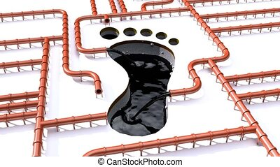 Carbon footprint oil brown pipeline pipe line foot print oil...