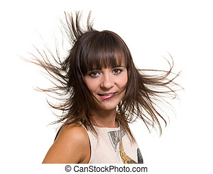 Girl Portrait with Long Blowing Hair isolated on white background