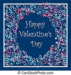 Happy valentines Day festive frame. Vector illustration. Blue and pink feminine and masculine color shapes card.