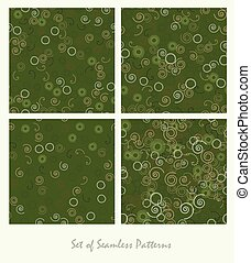 Set of seamless patterns. Spirals and circles color green design. Dark abstract decorative backgrounds.