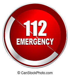 Number emergency 112 red web icon. Metal shine silver chrome border round button isolated on white background. Circle modern design abstract sign for smartphone applications.
