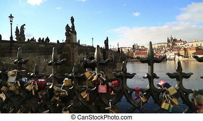 Charles Bridge and Prague castle with Love locks - Love-...