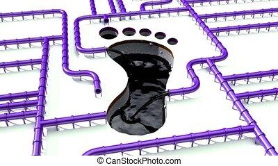 Carbon footprint oil voilet pipeline pipe line foot print...