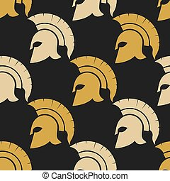 Spartan warriors seamless pattern - Spartan Helmet...