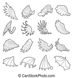Different wings icons set, outline style - Different wings...