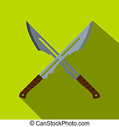 Japanese short swords icon, flat style - Japanese short...
