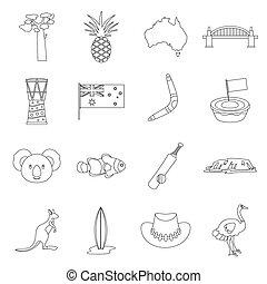 Australia travel icons set, outline style - Australia travel...