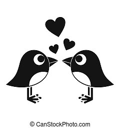 Two birds with hearts icon, simple style - Two birds with...