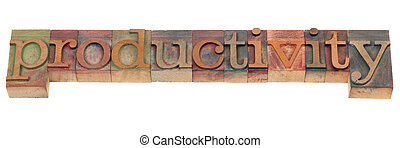 productivity concept - word spelled in vintage wooden...