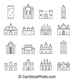 Towers and castles icons set, outline style - Towers and...