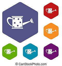 Watering can icons set rhombus in different colors isolated...