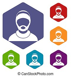 Bearded man avatar icons set rhombus in different colors...