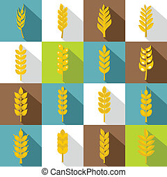 Ear corn icons set, flat style - Ear corn icons set. Flat...