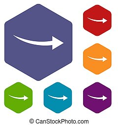 Curve arrow icons set rhombus in different colors isolated...