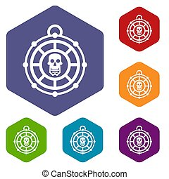 Pirate amulet icons set rhombus in different colors isolated...
