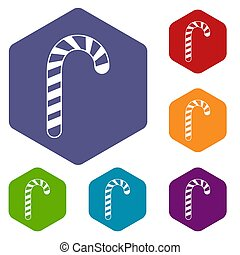 Candy cane icons set rhombus in different colors isolated on...