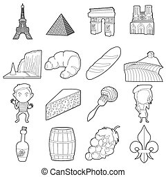 France travel icons set, outline style - France travel icons...