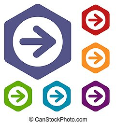 Arrow in circle icons set rhombus in different colors...