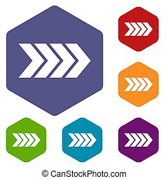 Striped arrow icons set rhombus in different colors isolated...