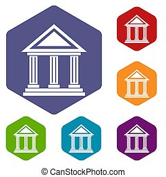 Colonnade icons set rhombus in different colors isolated on...