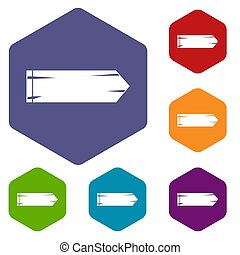 Thick arrow icons set rhombus in different colors isolated...