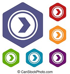 Arrow to right in circle icons set rhombus in different...