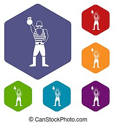 Strong man with kettlebell icons set rhombus in different...