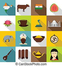 India travel icons set, flat style - India travel icons set....