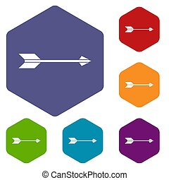 Long arrow icons set rhombus in different colors isolated on...