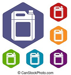 Plastic jerry can icons set rhombus in different colors...