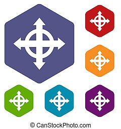 Arrows target icons set rhombus in different colors isolated...